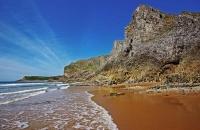Cliffs, foam and sand, Mewslade