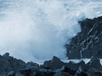 Crashing waves on jagged rocks near Mewslade