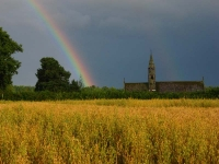 Cornfield and Double Rainbow over church at Cwmbach Llechrhyd
