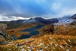 Llyn Llydaw with the icy, misty Snowdon Horseshoe as a backdrop