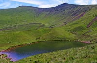 38.The corrie lake, Llyn Llwch, nestles below the Beacons